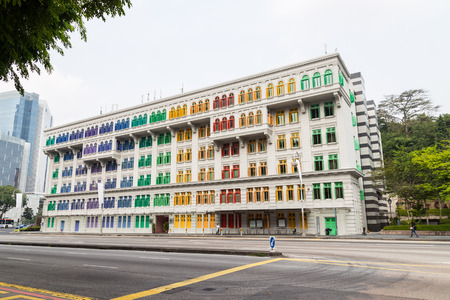 heritage: Heritage Building Windows in Singapore Editorial