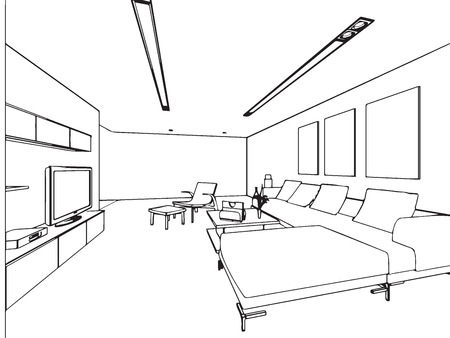 livingroom: outline sketch drawing perspective of a interior space
