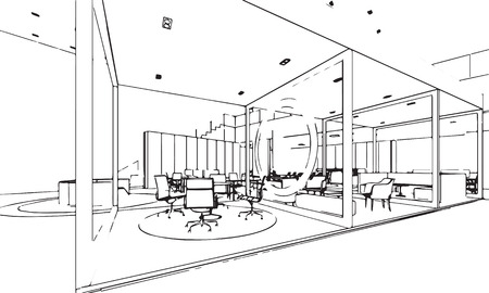 office space: interior outline sketch drawing perspective of a space office