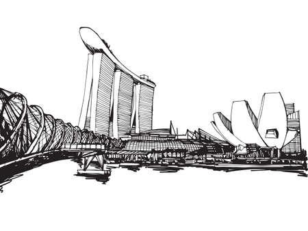 singapore skyline: Free hand sketch vector panoramic singapore city sketch