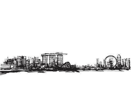 croquis main libre vecteur croquis panoramique ville singapour