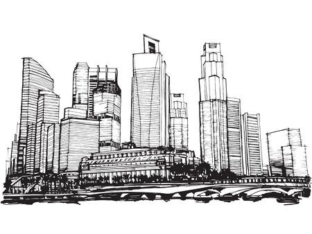 singapore city: Free hand sketch vector panoramic singapore city sketch