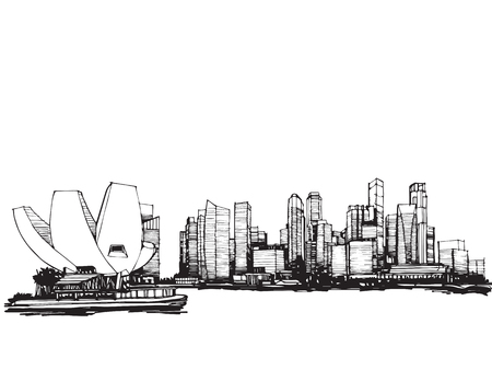 Free hand sketch vector panoramic singapore city sketch