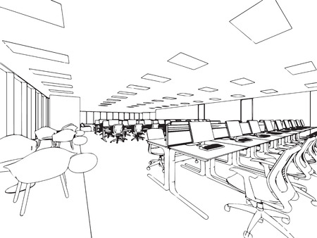 interior spaces: interior outline sketch drawing perspective of a space office