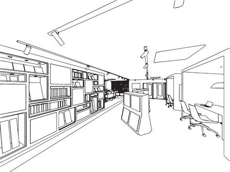 showroom: interior outline sketch drawing perspective of showroom