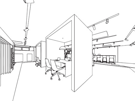 interior outline sketch drawing perspective of showroom