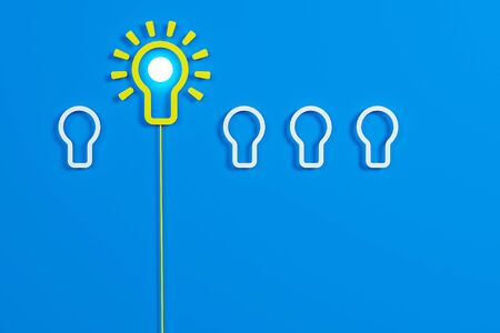 Flat style idea light bulb concept , Business strategy planning objects icon set collage , bulb balloon concept