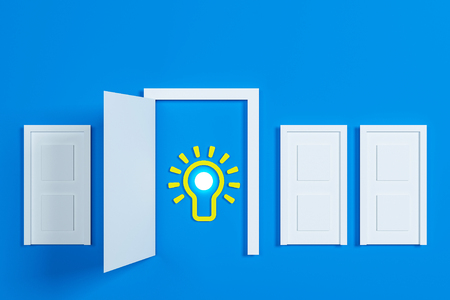 Flat style idea light bulb concept , Business strategy planning objects icon set collage , bulb doors concept