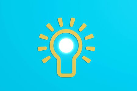 Flat style idea light bulb concept , Business strategy planning objects icon set collage