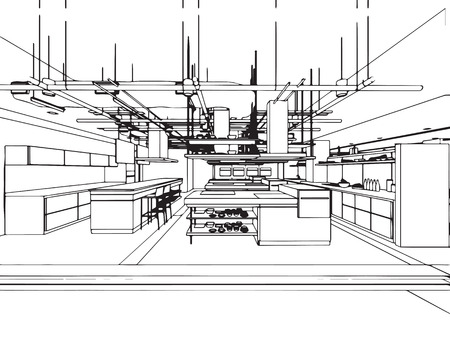 Interior outline sketch drawing perspective of a space office