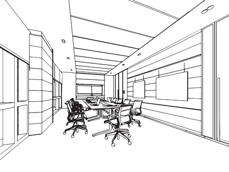 Interior outline sketch of an office space