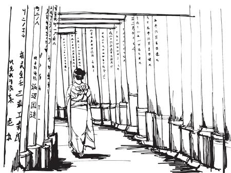 フリーハンドスケッチ世界的に有名な:京都の有名なランドマークの一つ、伏見稲荷神社の鳥居門に着物を着た女性が立つ