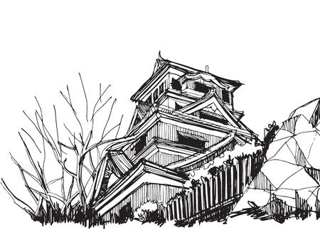 Free hand sketch World famous : Kumamoto castle Japan.