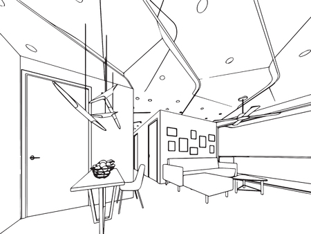 Outline sketch drawing perspective of a interior space illustration.