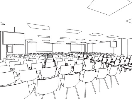 interior outline sketch drawing perspective of a space office. Illustration