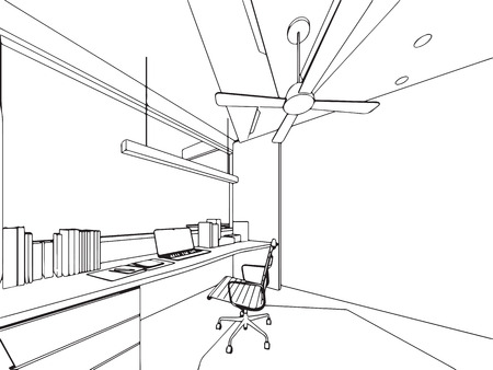 Interior outline sketch drawing perspective of a space office.