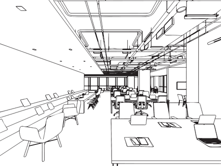 interior outline sketch drawing perspective office vector format.
