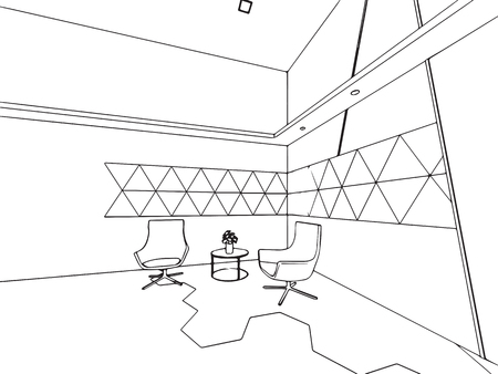 interior outline wireframe sketch drawing perspective, office vector eps format.