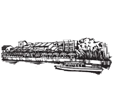 Free hand drawing sketch vector panoramic singapore city