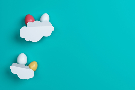 colorful Easter eggs and cloud on green background. Space for text. Minimal concept. Abstract idea. Flat lay. Top view. 3d rendering.