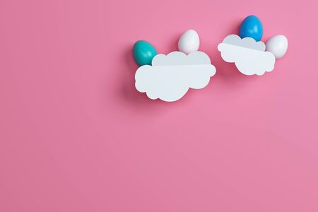 colorful Easter eggs and cloud on pink background. Space for text. Minimal concept. Abstract idea. Flat lay. Top view. 3d rendering.