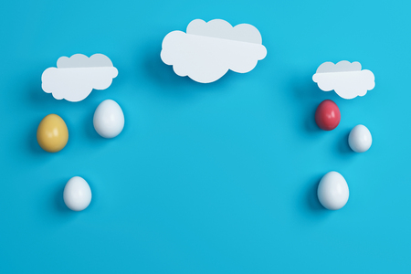 colorful Easter eggs and cloud on blue background. Space for text. Minimal concept. Abstract idea. Flat lay. Top view. 3d rendering.