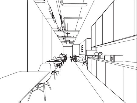 Interior outline sketch drawing perspective office Stock Vector - 101259120