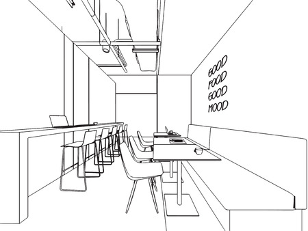 Interior outline sketch drawing perspective office Stock Vector - 101259123