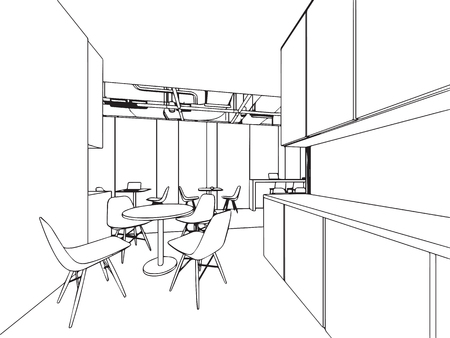 Interior outline sketch drawing perspective office