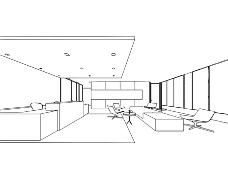 Interior outline sketch drawing perspective office Stock Vector - 101259125