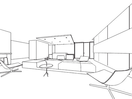 Interior outline sketch drawing perspective office Stock Vector - 101259129