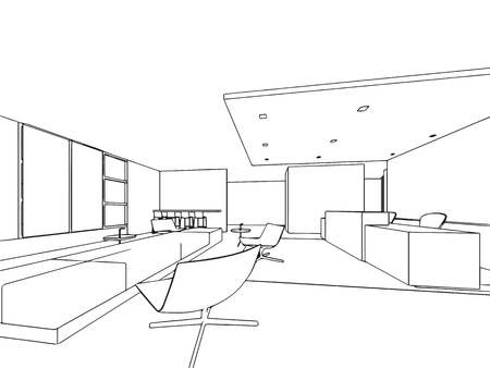 Interior outline sketch drawing perspective office Stock Vector - 101259130