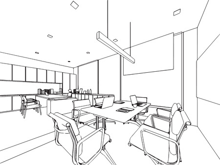 Interior outline sketch drawing perspective office Stock Vector - 101259131