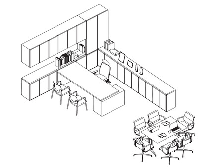 Interior outline sketch drawing perspective office Stock Vector - 101259137