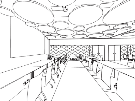 Interior outline sketch drawing perspective office Stock Vector - 101260010