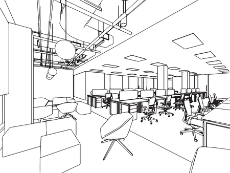 Interior outline sketch drawing perspective office Stock Vector - 101260014