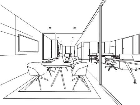 interior outline wireframe sketch drawing perspective , office vector eps format.