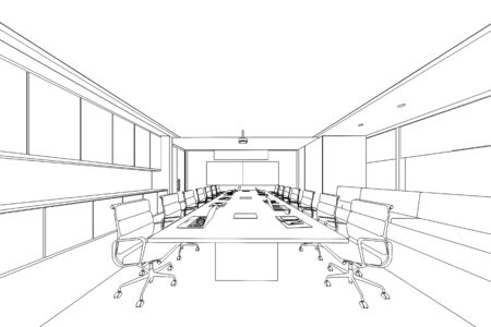 interior outline sketch drawing perspective of a space office Imagens