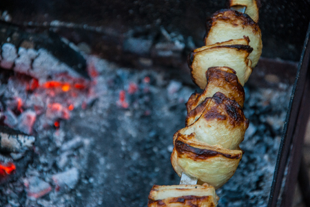 Meat skewers being grilled in a barbecue Foto de archivo