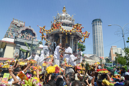 Georgetown,Penang.Malaysia – CIRCA JAN 2016: Silver chariot with offering from devotees at Nagarathar Sivan Temple during Thipusam celebration.
