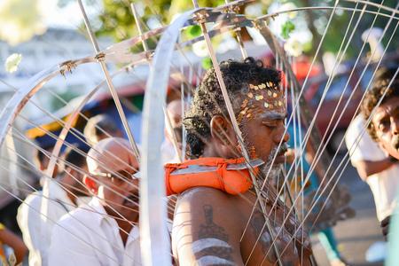 Georgetown,Penang.Malaysia – CIRCA JAN 2016: Kavadi bearer at Lorong Kulit during Thaipusam Festival.