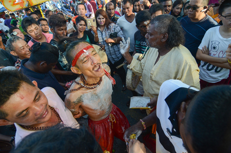 Georgetown,Penang.Malaysia – CIRCA JAN 2016: Before piercing of cheeks during Thaipusam Festival.