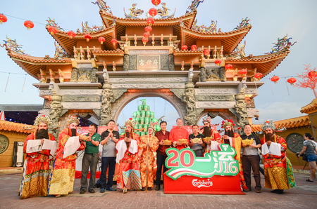 Raja Uda, PenangMalaysia - CIRCA JAN 2016: Sponsor of Carlsberg during Chinese new year celebration at 9 emperor temple.