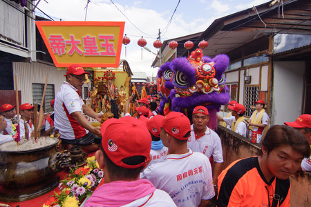 GEORGETOWN, PENANGMALAYSIA – CIRCA FEBRUARY 2016: Lion dance at cultural celebration. Editorial