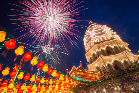 KEK LOK SI, PENANG/MALAYSIA – 4 FEB 2016: Kek Lok Si temple lights up every year in time for Chinese New Year