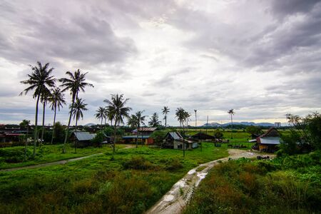Aerial view small path towards Malays village kampung house at Penang, Malaysia in cloudy day.