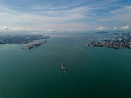 Aerial view container ship arrive North Butterworth Container Terminal (NBCT).