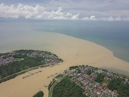 Aerial view Sungai Muda connected to sea.