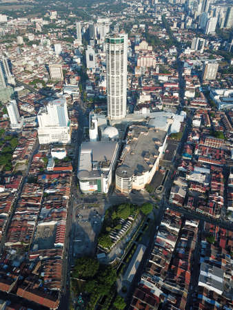 Georgetown, Penang/Malaysia - Feb 29 2020: Aerial KOMTAR and Sia Boey Urban Archaeological Park.