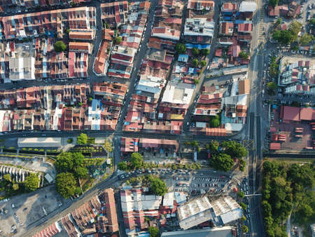Georgetown, Penang/Malaysia - Feb 29 2020: Aerial top down view Sia Boey Urban Archaeological Park. Editorial